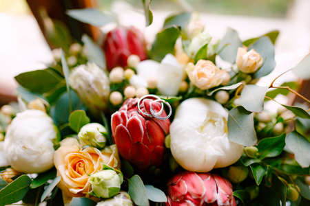 Wedding rings of the bride and groom on a bud in a bouquet of roses and peonies in red and white.