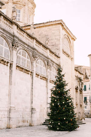 New Year tree on the streets of the old town of Dubrovnik. 스톡 콘텐츠