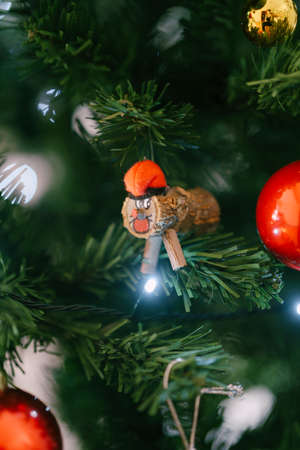 The Tio de Nadal toy on the Christmas tree is an Aragonese and Catalan Christmas tradition. 스톡 콘텐츠