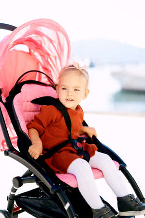 2-year old girl in a terracotta dress and white tights sitting in a pink stroller
