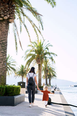 Mother and daughter are taking a walk by the palm trees in a marina in Montenegro Imagens