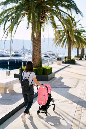 Woman is pushing a pink stroller on a boat pier on a sunny day