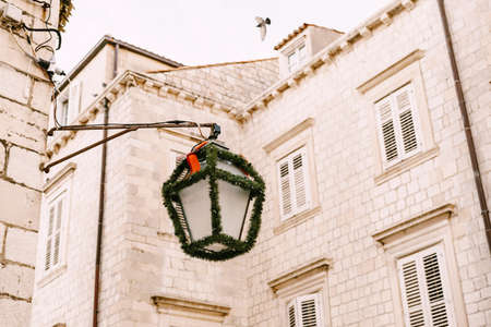 Street lamp decorated with a Christmas garland against the backdrop of a tall house.