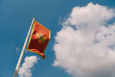 Close-up of the red flag of Montenegro with a two-headed eagle against a blue sky with white clouds. Фото со стока