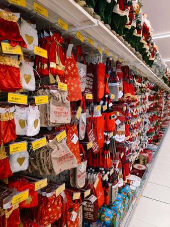 Budva, Montenegro - 15 December 2020: Showcase with Christmas decorations in a supermarket.