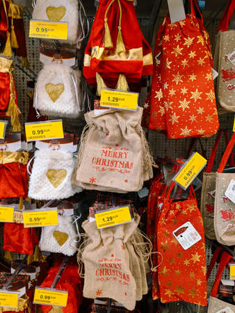 Budva, Montenegro - 15 December 2020: Rag bags for Christmas and New Year gifts, sold in the mall. Editorial