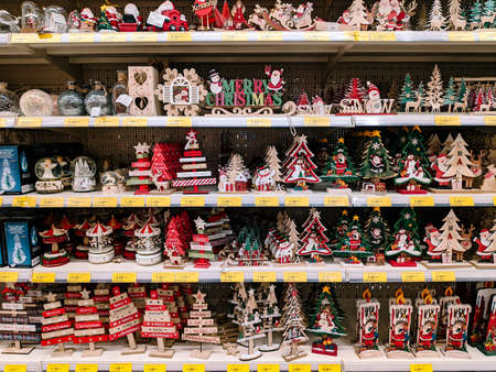 Budva, Montenegro - 15 December 2020: Christmas wooden toys on the shelves in the store.