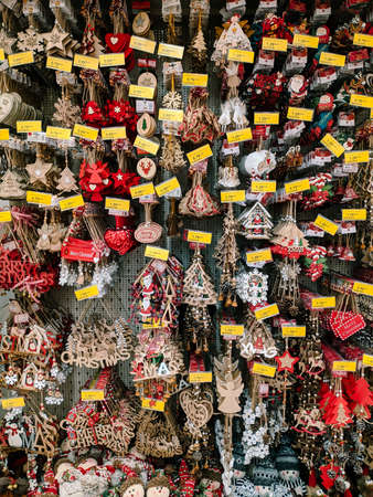 Budva, Montenegro - 15 December 2020: Christmas decorations are sold at the supermarket. Editorial