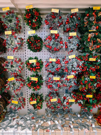 Budva, Montenegro - 15 December 2020: Christmas wreaths are sold on supermarket shelves. Editorial