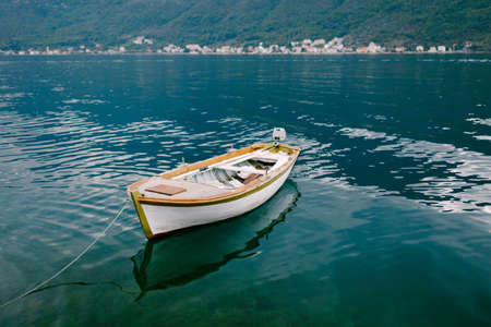 Wooden fishing boat in the Bay of Kotor in Montenegro.