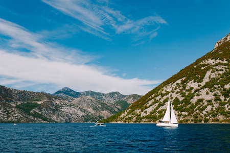 A white sailboat floats on the waters of the Bay of Kotor against the backdrop of mountains and blue sky.