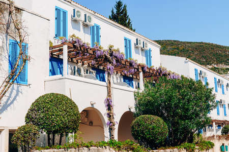 The building is white with trees and curly wisteria on a wooden beam by windows with blue shutters. Imagens