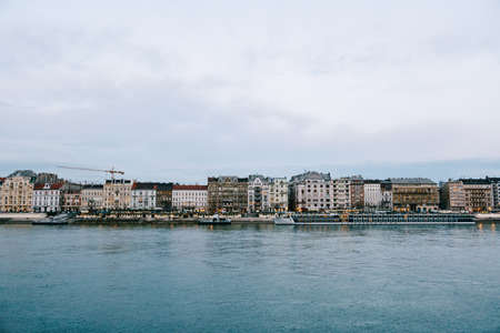 Panorama of the buildings of Budapest by the Danube River to the old buildings on the other side