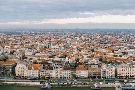 Aerial view of beautiful buildings and Danube embankment Imagens