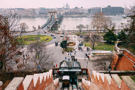 Panoramic view from the funicular bridge to the bridge over the Danube river