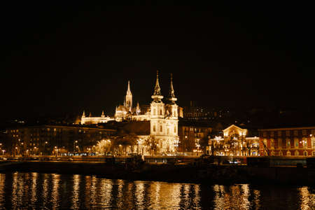 Panoramic view of Budapest at night in the light of artificial illumination