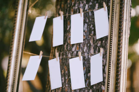 Blanks for the wedding guest list hang in a beautiful frame on a tree. Seating plan. Close up Imagens
