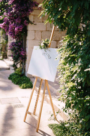 Blank wooden easel on the background of the wall and flowering bushes. Side view