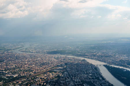 View from the plane window of the Margit-sziget island on the Danube in Budapest, Hungary