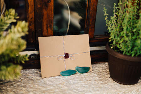 Brown envelope tied with a colorful string is on the white windowsill next to the flowerpots