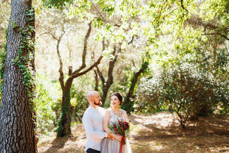 The bride and groom with a bouquet stand hugging among the trees in an olive grove Imagens