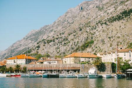 Pier near old town Kotor, Montenegro. Travel photo.