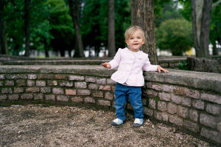 Little girl stands near a low stone fence in a green park