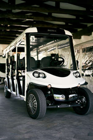 White six-seater golf cart stands in the garage Imagens