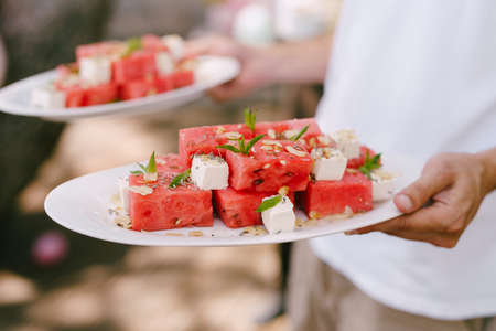 Slices of watermelon with cheese and herbs on the plates