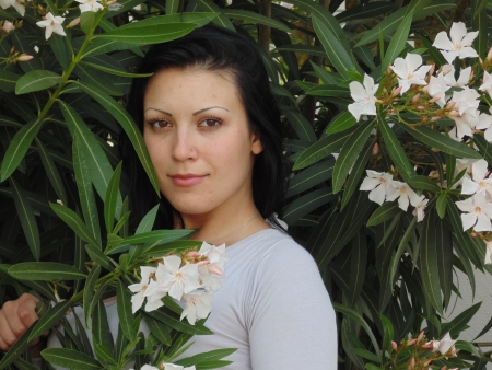greenness: Beautiful woman and greenness