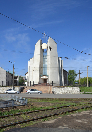 immaculate: The Catholic Cathedral Of The Immaculate Heart Of The Mother Of God. Irkutsk Stock Photo