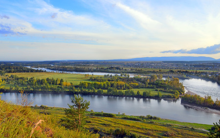 Summer landscape. The floodplain from the high bank. Uda River, Siberia, Russia. 스톡 콘텐츠