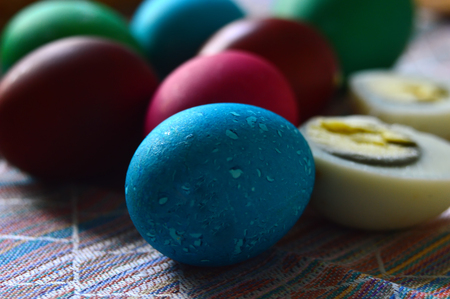 Easter painted eggs. Multicolored.Shell and sliced. Preparation for the holiday.