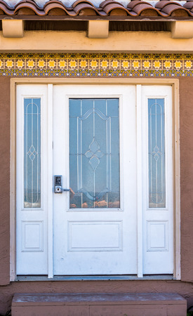 two and two thirds: house entrance door with two thirds lite with arctic glass inserts and two side panels