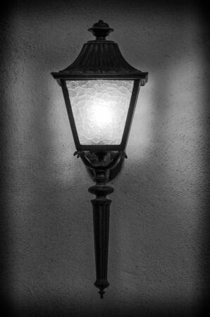 fixture: Beautiful  street light fixture in classical black and white Stock Photo