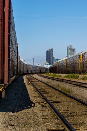 split rail: train and parallel rails perspective view vertical