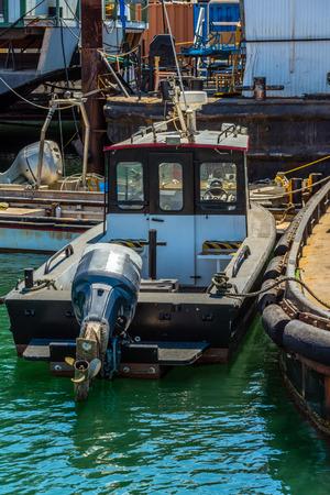 small guard boat at a sea port Stock Photo
