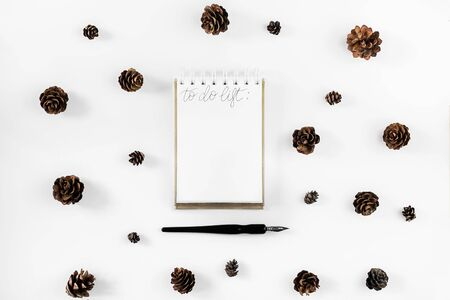 Flat lay christmas notepad mockup whis fir branches and cones . White paper sheet clip board mock up. Winter holidays mood for hand lettering. Merry christmas happy new year. Stock Photo