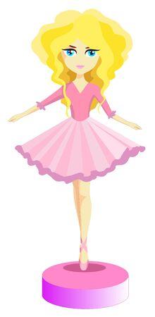 長いブロンドの髪にピンクのドレスで小さなバレリーナ
