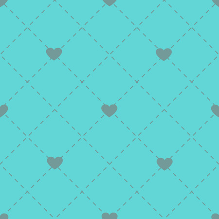 A Seamless romantic blue pastel background embroidered with diamonds and hearts Illustration