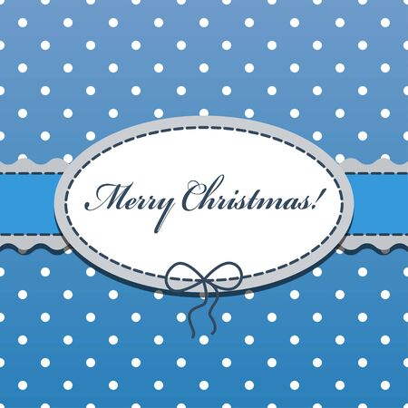 Christmas blue flat background with the little dots, ribbon and oval frame with bow and stitched thread for congratulations. Can be used as greeting card.
