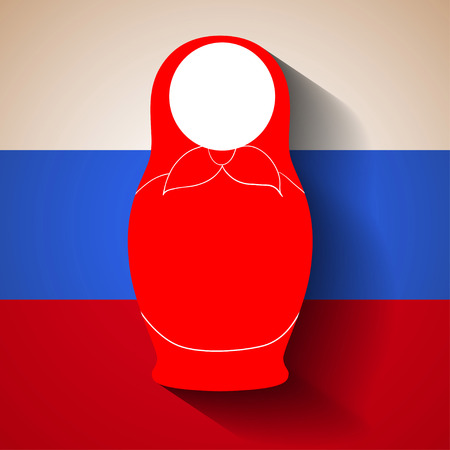 matryoshka: Voluminous silhouette of matryoshka with shadow on white-red-blue background for your design