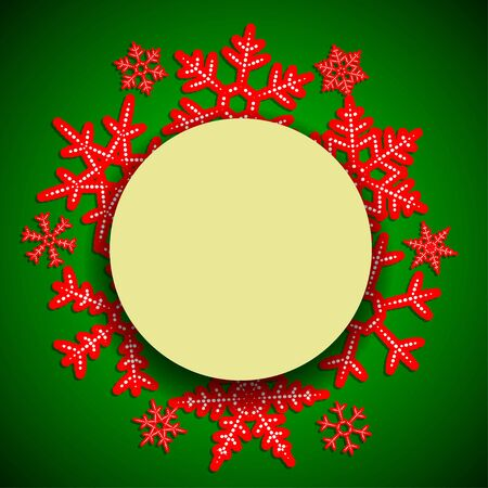 Winter rad and green vintage  background with round paper frame and shade for the new year and Christmas design