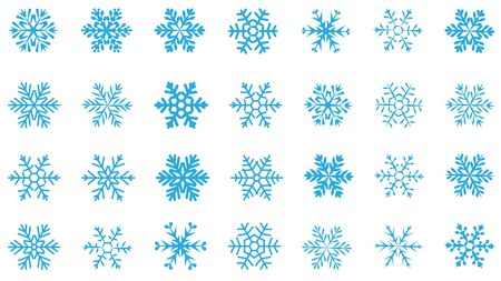 large set of various carved, lace or simple blue snowflakes Vektorové ilustrace