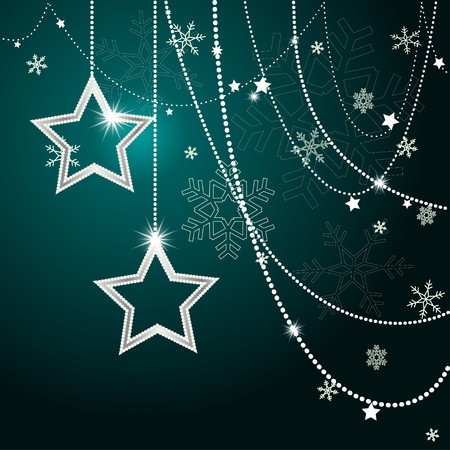 Christmas Background with shining stars and beads . Abstract Illustration. Eps10 Format