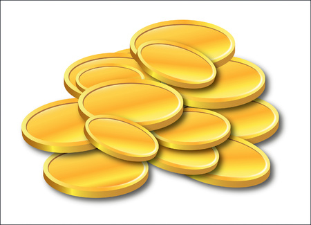 a lot of gold coins vector illustration