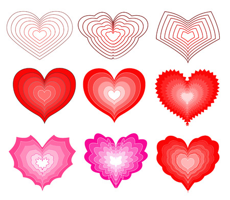 A large set of hearts for Valentines day with a blend