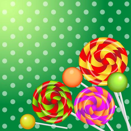 realistic shiny lollipops  background