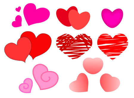 A large set of hearts for Valentine's day.