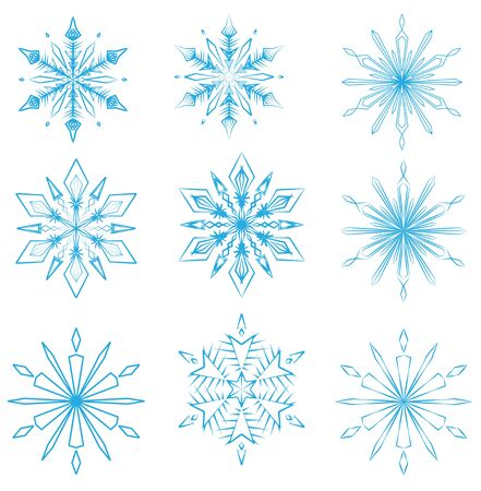 Set of crystalline snowflakes for Christmas design